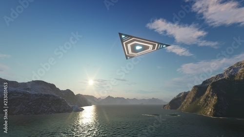 3D triangular ufo hung in the sky in the evening Wallpaper Mural