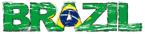 Fotografie, Obraz  Word BRAZIL with Brazilian flag under it, distressed grunge look.
