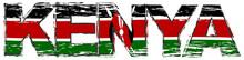 Word KENYA With Kenyan National Flag Under It, Distressed Grunge Look.