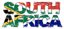 Text SOUTH AFRICA With National Flag Under It, Distressed Grunge Look.