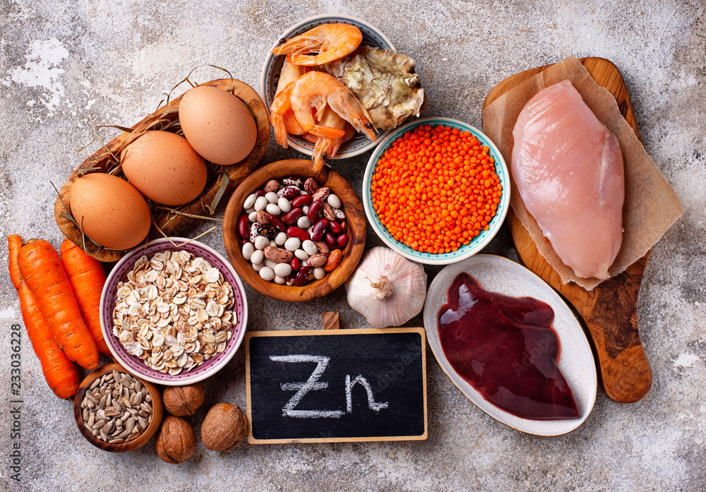 Fototapety, obrazy: Healthy product sources of zinc.