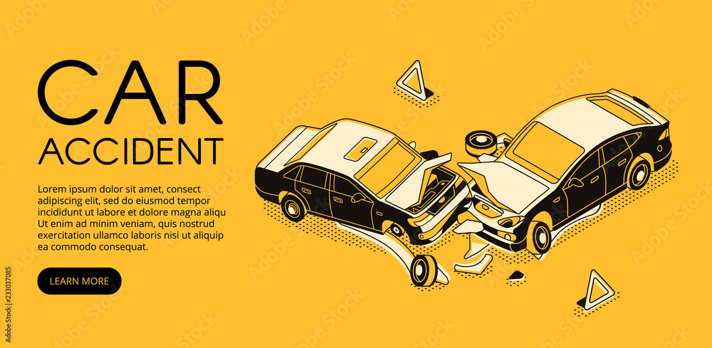 Car accident vector illustration of vehicle crash for driver insurance or automotive repair service. Isometric black thin line web banner design on yellow halftone background - obrazy, fototapety, plakaty