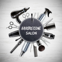 Hairdressing Tools Realistic Composition