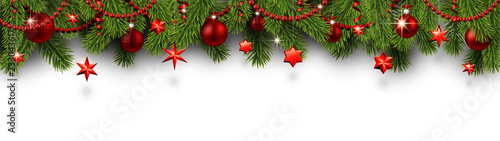 Fototapeta Christmas and New Year banner with fir branches and red Christmas decorations. obraz