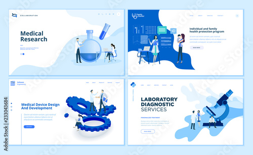 Cuadros en Lienzo Web page design templates collection of medical research, laboratory diagnostic, medical device development, family health protection program