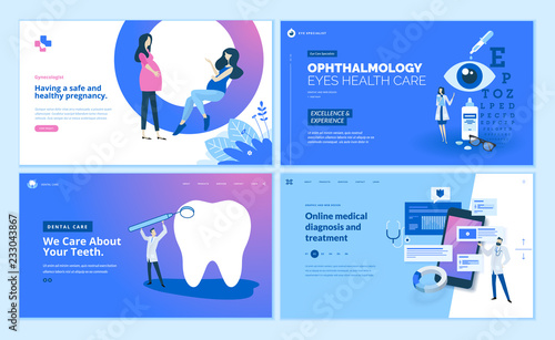 Web page design templates collection of gynecology , ophthalmology, dental care, online medical diagnosis and treatment Fototapet
