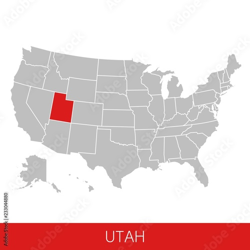 United States of America with the State of Utah selected ...