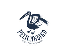 Pelican Bird With Raised Wings, Logo Design. Animal, Wildlife, Nature And Water Bird, Vector Design And Illustration