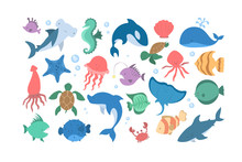 Ocean And Sea Animal Set. Collection Of Aquatic Creature