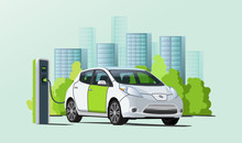 Green And White Electric Car Charging At Charging Station, Cityscape On Background, Ecological Transport, Flat Style Vector Illustration
