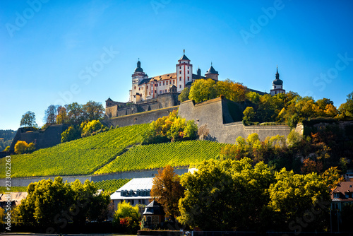 Valokuva Wurzburg, view with vineyrds and castle