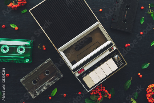Flat lay audio cassette and player, top view