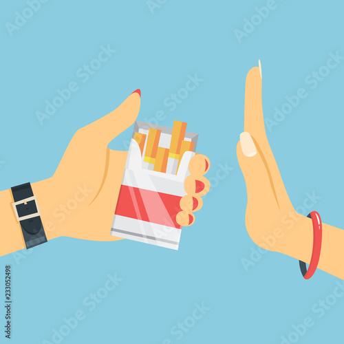 Fotografija  Stop smoking concept. Woman hand refuse cigarette