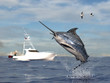canvas print picture - Big game fishing time, big swordfish marlin  jumped hooked by sport fishing angler, fishing boat 3d render