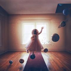 Fototapeta Little girl and solar system
