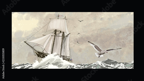 Deurstickers Art Studio Old sailing ship on a rough sea