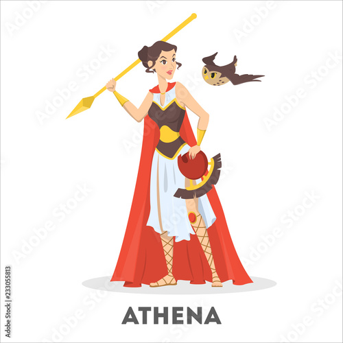 Athena greek goddess from ancient mythology. Female character Canvas Print