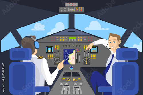 Valokuvatapetti Pilot in cockpit smiling. Control panel in airplane
