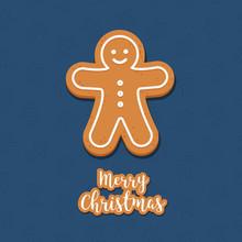 Gingerbread Man Cookie Christmas Greetings Blue Background