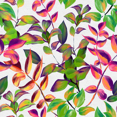 Panel Szklany Podświetlane Do pokoju dziewczyny Decorative fall leaves seamless pattern for surface design, fabric, wrapping paper, background. Abstract style spring illustration. natural leaf simple repeatable motif on paper textured background