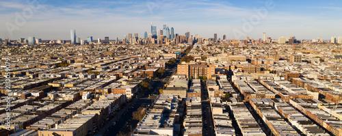 Long Panoramic View Dense Urban Neighborhoods Skyline Philadelphia Pennsylvania Canvas Print