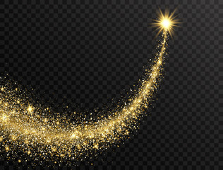 Star dust trail with glitter sparkling particles on transparent background. Gold glittering space comet tail. Cosmic wave. Golden shining star with dust tail. Festive backdrop. Vector illustration