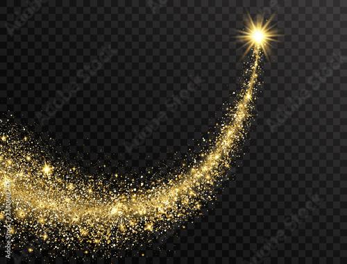 Obraz na płótnie Star dust trail with glitter sparkling particles on transparent background