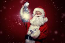 Santa Claus Is Holding Lantern