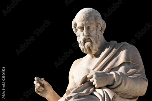 Photo sur Toile Commemoratif classic statues Plato close up