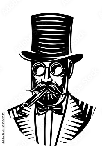 Cuadros en Lienzo Vector monochrome illustration of a gentleman and top hat for the club