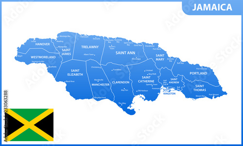 The detailed map of Jamaica with regions or states and cities, capital. Administrative division.
