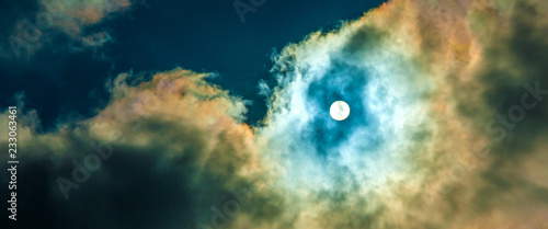 Foto  Colorful dramatic sky with cloud at sun background