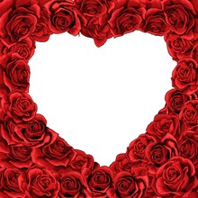 Valentines Day Red Roses Heart Inverted Isolated Background