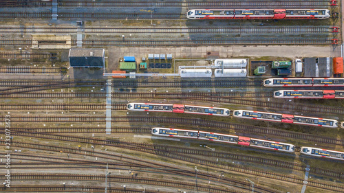 Fotografie, Obraz Trains at railroad yard at station district