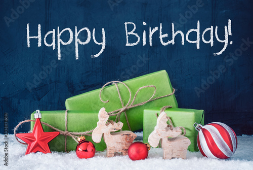 Photo  Green Christmas Gifts, Snow, Decoration, Text Happy Holidays