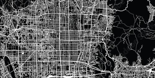 Urban vector city map of Kyoto, Japan Wallpaper Mural
