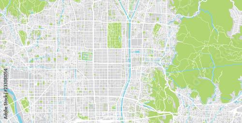 Photo Urban vector city map of Kyoto, Japan