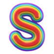 Concentric rainbow font letter S 3D