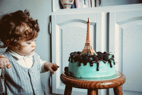 Phenomenal Little Toddler Boy With His First Cake On Birthday Cake Is With Personalised Birthday Cards Sponlily Jamesorg