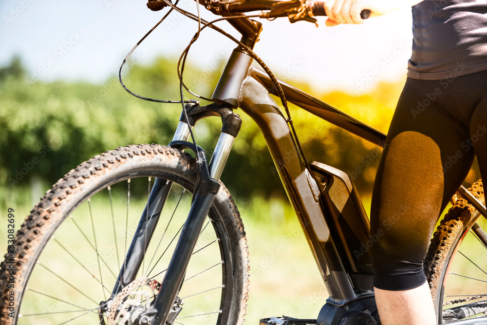Fototapety, obrazy: Close up of battery of an E-Mountainbike