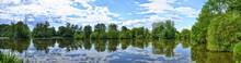 Fulda River In Aueweiher Park  In Fulda, Hessen, Germany (panora