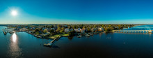Aerial Panorama View Of Historic Colonial Chestertown Near Annapolis Situated On The Chesapeake Bay During An Early November Afternoon