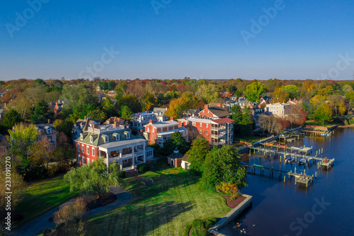 Fotografie, Obraz  Aerial view of historic chestertown near annapolis situated on the chesapeake ba
