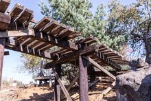 Old, Half Broken Wood Bridge O...