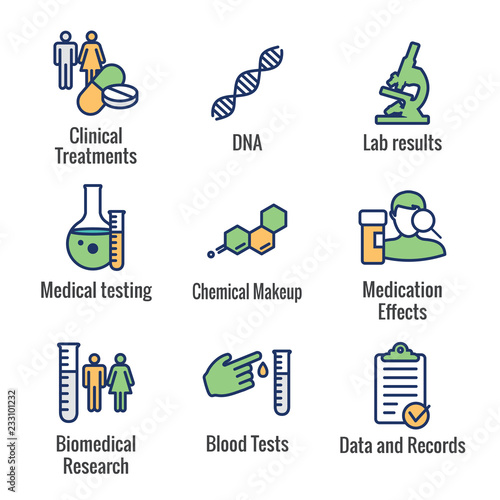 Medical Healthcare Icons with People Charting Disease or Scientific Discovery Ne Fototapeta