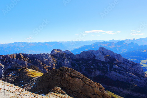 Poster Blauw Mountain peaks on summer clear day. Leisure. Mountain landscape.