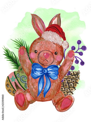 ef4b9b4e28863 Watercolor Santa Claus red hat and Scarf Retro Toy rabbit Hand painted  christmas illustration isolated on