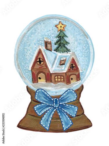 Vintage Christmas Illustrations.Vintage Christmas Snow Globe House And Christmas Tree And