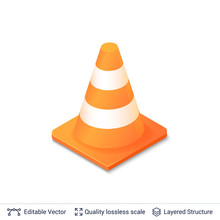 3d Traffic Cone Icon Isolated On White.