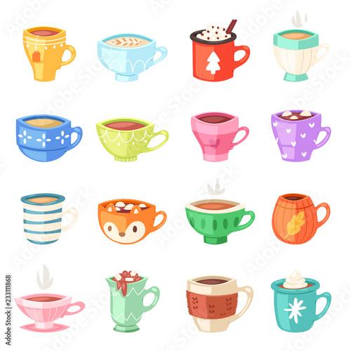 Cartoon cup vector kids mugs hot coffee or tea cupful on breakfast and various s Fototapet